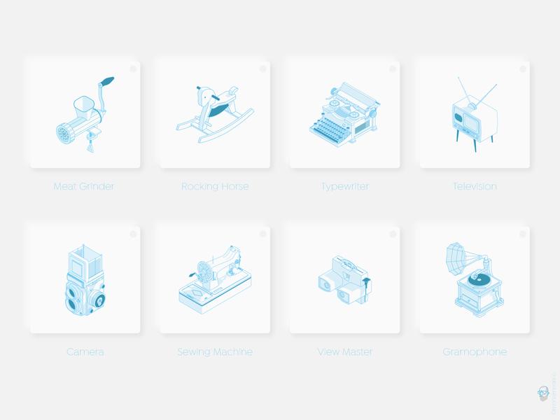 isometric vintage icons mohamedmo forsale vector ui isometric design line vintage isometric art isometric illustration icon illustration isometric