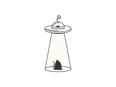 Black Alien blackcat alien ufo minimalistic vector illustration