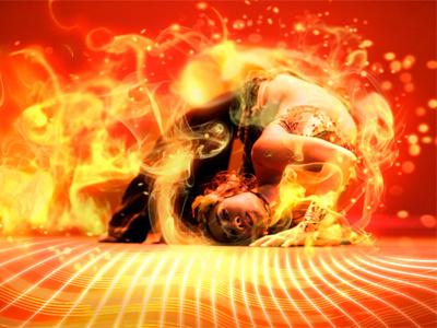 Performing Artist Photomanipulation red fire dramatic photoshop design illustration dance