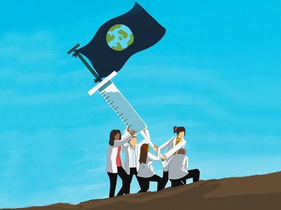 The Covid Vaccine needs to be for the world, not just the rich leeds illustrator andy carter illustration magazine illustration healthcare medicare medicine covid19 covid-19 vaccine characters conceptual minimal editorial illustration editorial digital illustration illustration