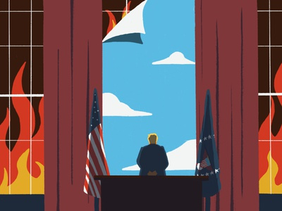 Trump - Everything's not fine us politics us president president inauguration leedsillustrator andy carter illustration donald trump trump political illustration politics characters minimal conceptual editorial illustration editorial digital illustration illustration