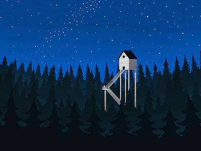 Forest Cabin book cover milkyway stars sky andy carter illustration leedsillustrator leeds illustrator forest cabin minimal illustration design minimal conceptual editorial illustration editorial digital illustration illustration