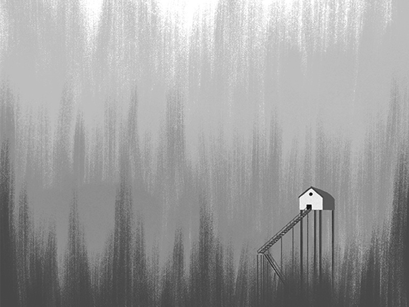 Homes home alone cabin forest home houses minimal illustration minimal design conceptual editorial illustration editorial illustration digital illustration