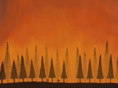 Fire wildfire forest fire trees fire minimal illustration minimal design conceptual editorial illustration editorial illustration digital illustration
