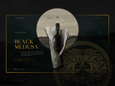 Wine - Black Medusa logo music wine uiux creative fashion webdesign kaixapham inteface typography graphicdesign desgin ui ui  ux design