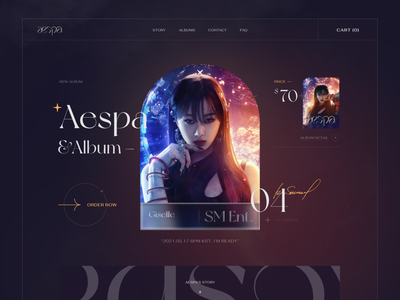 Aespa - Comeback Album 2021 - Giselle landingpage girl korean gradient creativie trending music aespa uiux vietnam fashion webdesign ui  ux design kaixapham inteface desgin ui typography graphicdesign