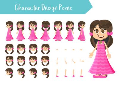 Girl character creation set