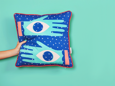 All Senses Collection eyes fabric pattern print pillow hands