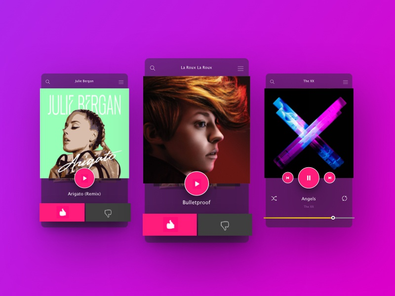 Music App UI app music nyc gradient user experience user interface