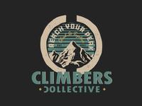 Climbers Collective Badge badge vintage badge vintage vector illustration digital art design brand logos logo logo design graphic design