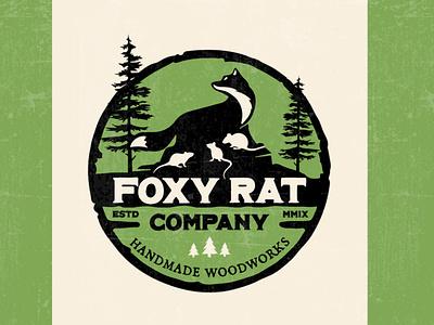 Logo for Foxy Rat Woodworks vintage logo badge branding digital art brand logos logo design logo design graphic design