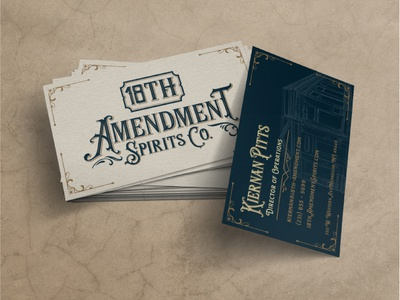 18th Amendment Business Card Design brand illustration brand identity branding logo logo design graphic design business card print design card design spirits distillery business card design