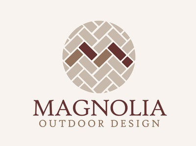 Magnolia Hardscaping Brick Design with Letter M pavers brick laying herringbone landscaping hardscaping letter m brick vector illustration logos brand logo design design branding logo graphic design