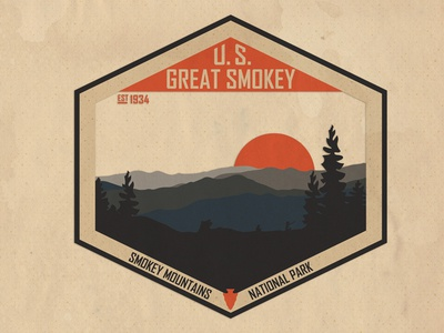 Smokey Mountains National Park Design patch design sticker design smokey mountains national park graphic design digital art national park smokey mountains
