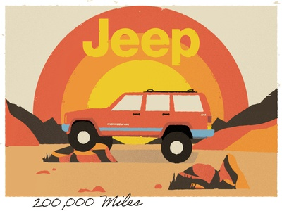'99 Jeep sunset desert color landscape vintage art vintage vectore cherokee jeep illustation illustartor art graphic design illustration design
