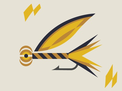 Abstract Fishing Lure 002 shapes abstract yellow lures fishing lure fishing graphic design vector illustration design