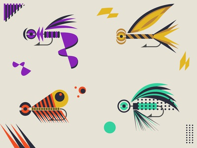Abstract Fishing Lures 001-004 abstract flat illustration art shapes flatdesign lures fishing lures fishing graphic design design vector
