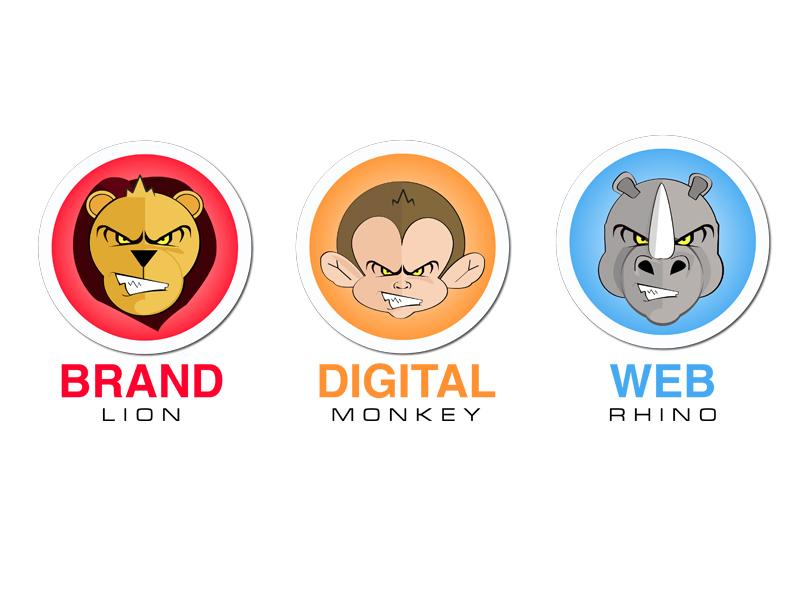 Jungle Creative branding digital character animal logo branding web illustration graphic design