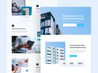 Di-kosan | Boarding house landing page trip travel homepage home stay room boarding house guest house ui ux clean simple web design landing page house boarding real estate