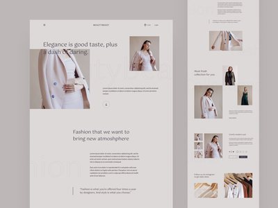 Beautybeast - Fashion website web design product ecommerce beauty lookbook clean simple landing page website fashion