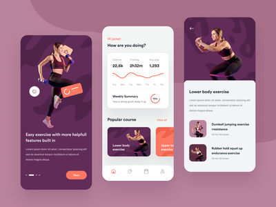 Fitness Mobile App onboarding simple clean ux ui trainer exercise training app mobile fitness