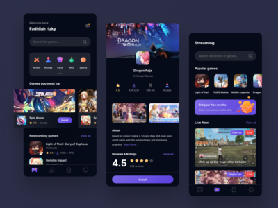 Gameplay - Game store and streaming apps simple streamer store game illustration mobile design app clean ux ui