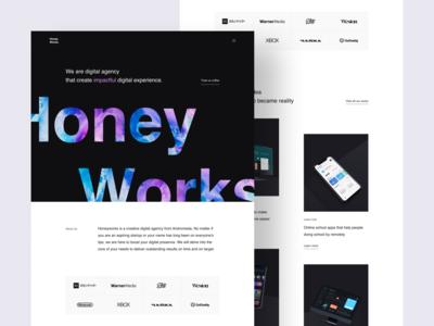 Honeyworks - Digital Agency Website studio agency website agency web design design website landing page clean ux ui