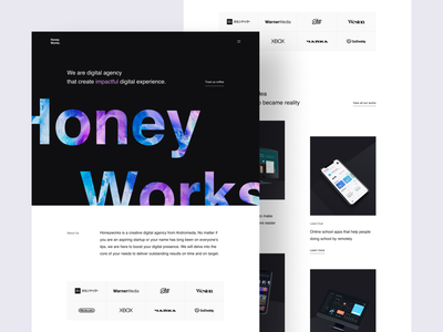 Honeyworks - Digital Agency Website studio agency website agency web design design website landing page clean ux ui