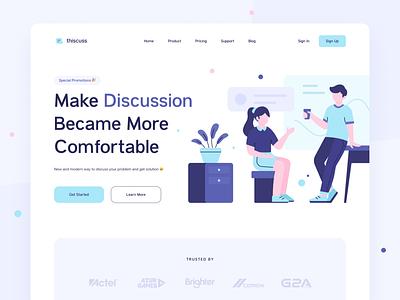 Thiscuss - Website Header Illustration header illustration simple design web design discussion discuss working teamwork illustration header landing page clean ux ui
