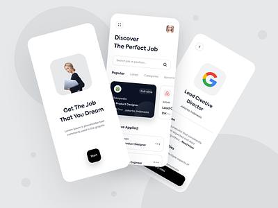Job Finder Mobile Apps minimalism minimalist job finder finder job jobs app mobile design simple clean ux ui