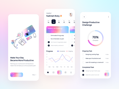 Tuskar - Task Productivity App colorful gradient light mobile minimalist planning to-do task todo app analytics simple clean ux ui