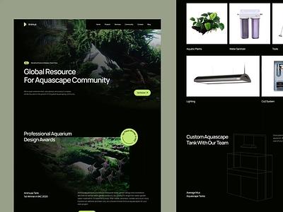 Animus - Aquascape Website 🐠 water tank fish aquascape aquarium homepage minimalist web design design website simple landing page clean ux ui