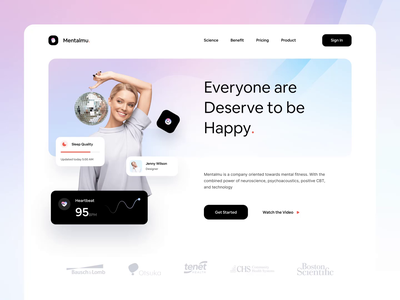 Mentalmu - Mental Health Websites 🧠 colorful gradient app doctor health medical mental health mental chart analytics homepage minimalist web design design website simple landing page clean ux ui