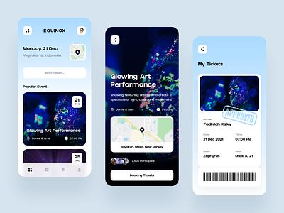 Equinox - Event App 🎟️ booking art performance music event app schedule movie ticket conference festival entertainment event mobile minimalist app design simple clean ux ui