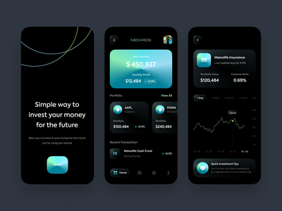 Nechros - Investment Mobile Apps 💹 trade card bank finance app financial app fintech trading stock finance investment investor invest design analytics mobile app simple clean ux ui