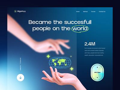 Oligarkyy - Education Website 🏫 header design vip premium school course header succes world education homepage minimalist web design website design landing page simple clean ux ui