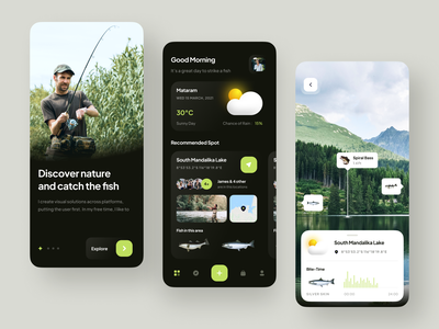 Fisherman's - Fishing Mobile Apps 🎣 weather catching sea lake tracker location map ship augmented reality nature fish fishing chart analytics minimalist mobile simple clean ux ui