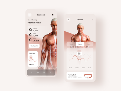 Heacker - Health Tracker App 🏃 monitoring dashboard medical calories healthy health minimal tracking tracker monitor monitoring app analytics mobile minimalist simple clean ux ui