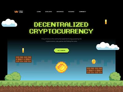 Kingcoin - Website Header Exploration 👑 simple clean ux ui pixel art pixelate web design website landing page blockchain ethereum coins bitcoin coin cryptocurrency