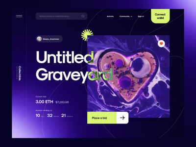 Collectible. - NFT Marketplace Website 🔮 website web design cryptocurrency crypto token nfts nft marketplace design landing page simple clean ux ui