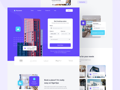 Placewere   Booking Place Site ui design homepage property building clean website landing page landing booking hotel real estate