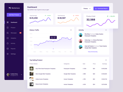 Marketrace - Marketplace Dashboard desktop design selling marketing analytics statistics clean sales marketplace ux ui dashboad