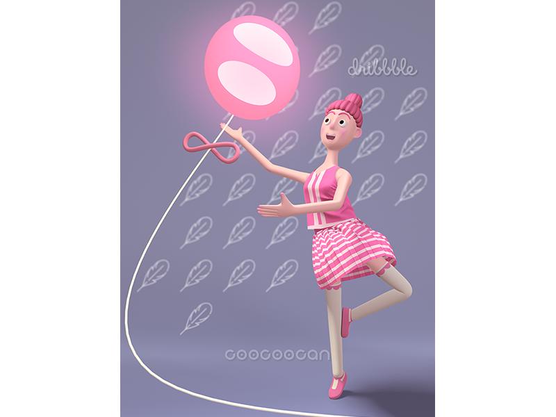 Morning for ballet ballet illustration rendering typegraphic 3d 早