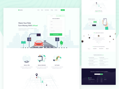 Uthao- Ride Sharing  Landing Page ride website modern user interface ux saas trend typography clean web uber landing page app landing design creative illustration apps app landing google