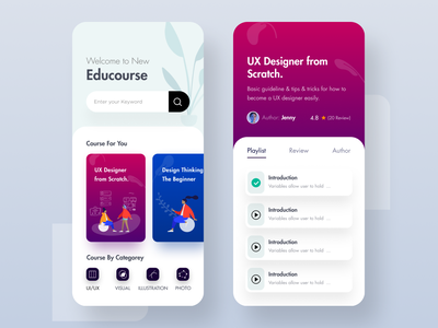 Online Course & Educational App UI ux course uiux categorey video illustraion gradient color app design educational online course online education course app ui