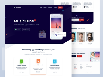 Music App Landing Page [Download] uiux landing ux design webdesign website ui design landing page app landing music