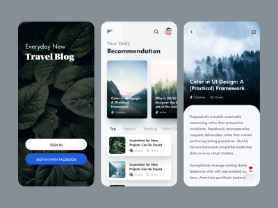 Travel Blog App Ui Design app design apps apple minimal modern clean travel agency uidesign ui app ui app blogging blogger blog traveling travel app travel