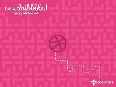 Hello Dribbble! mais bola labirinto caminho logo dribbble hello