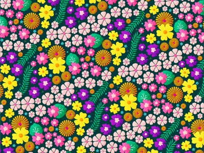Springy Floral Pattern spring bright illustration retro repeat pattern vector pattern floral