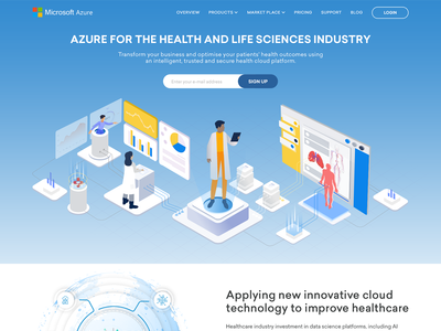 Illustration landing page for health and life sciences industry